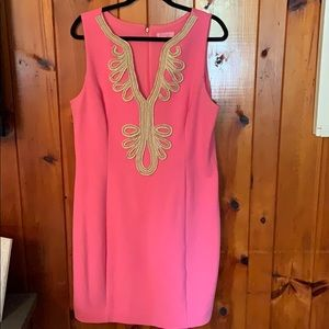Lily Pulitzer Pink Dress with Gold details